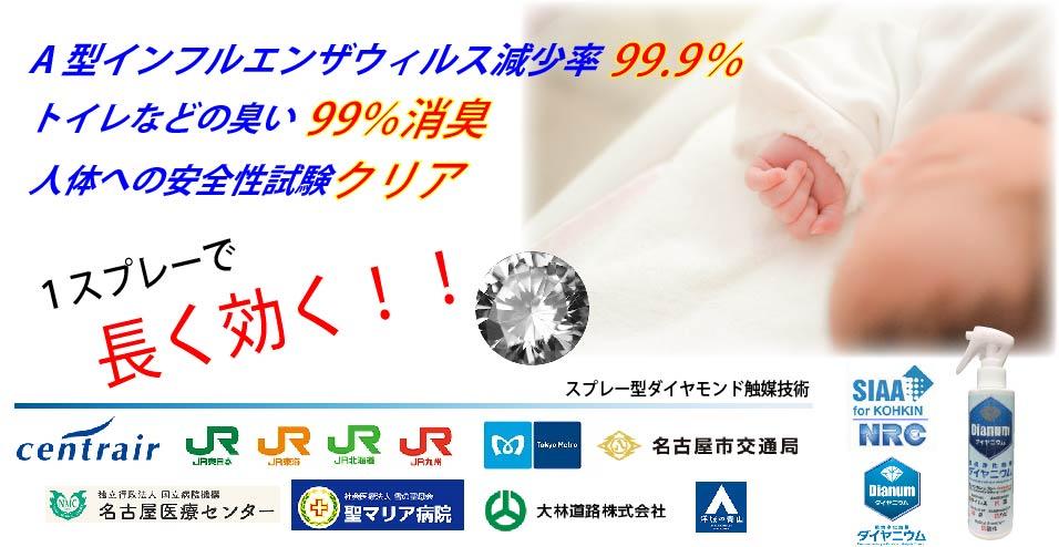 A型インフルエンザ減少率99%、トイレ臭腐敗臭99%消臭、人体への安全性試験クリア、ダイヤニウム